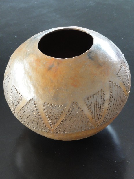 geometric earthenware zulu beerpot 1950